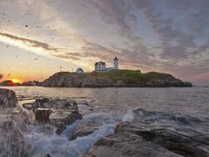 Waves Crash on Rocky Shoreline at Nubble Aka Cape Neddick Lighthouse in York, Maine, Usa by Chuck Haney