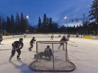 Youth Hockey Action at Woodland Park in Kalispell, Montana, USA
