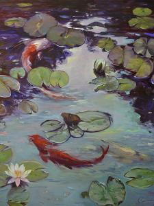 Red Koi and Lilies by Chuck Larivey
