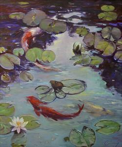 Red Koi & Lilies by Chuck Larivey
