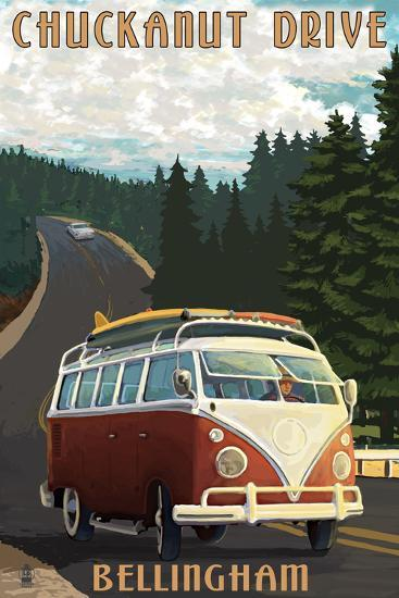 Chuckanut Drive - Bellingham, WA - VW Van-Lantern Press-Art Print