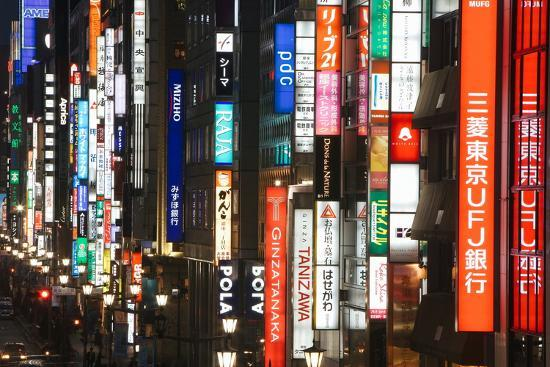 Chuo-Dori, Elevated View at Dusk Along Tokyo's Most Exclusive Shopping Street-Gavin Hellier-Photographic Print