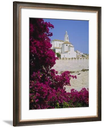 Church and Bougainvillea Flowers, Cadaques, Costa Brava, Catalonia (Cataluna) (Catalunya), Spain-Ruth Tomlinson-Framed Photographic Print