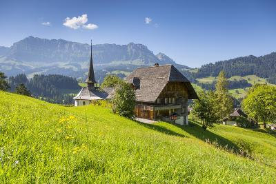 Church and Farmhouse in a Village in the Emmental Valley, Berner Oberland, Switzerland-Jon Arnold-Photographic Print