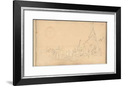 Church and Graveyard at Varengeville (Pencil on Paper)-Claude Monet-Framed Giclee Print