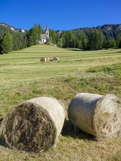 Church and Hay Bales, Vigo di Fassa, Fassa Valley, Trentino-Alto Adige/South Tyrol, Italy-Frank Fell-Photographic Print
