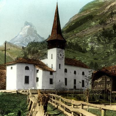 Church and Matterhorn, Zermatt, Switzerland--Giclee Print