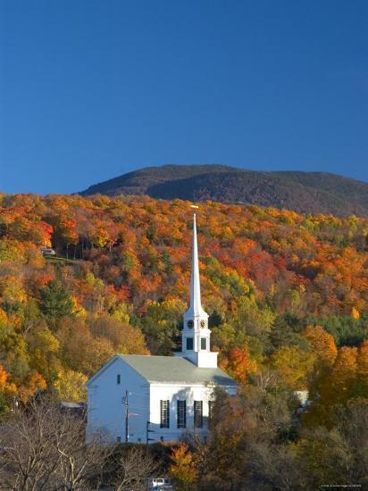 Church at Stowe, Vermont, New England, USA-Demetrio Carrasco-Photographic Print