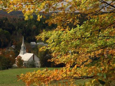 Church at Waits River, During Autumn, Vermont, New England, USA--Photographic Print