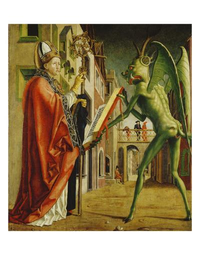 Church Father Altar. Right Outer Wing: St. Augustin and Satan-Michael Pacher-Giclee Print