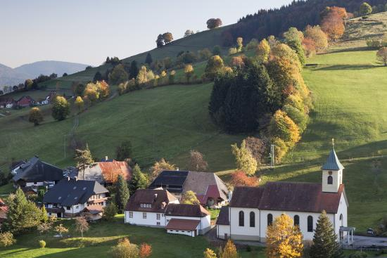 Church in Autumn, Wieden, Wiedener Eck, Black Forest, Baden Wurttemberg, Germany, Europe-Markus Lange-Photographic Print