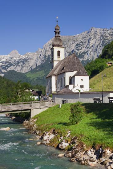 Church in Ramsau, Ramsauer Ache, Rider Stone Mountains, Berchtesgadener Land District, Bavaria-Rainer Mirau-Photographic Print