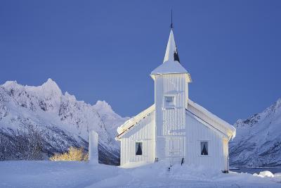 Church in Sildpollneset (Peninsula), Vestpollen, Austnesfjorden, Austvagoya (Island), Lofoten-Rainer Mirau-Photographic Print