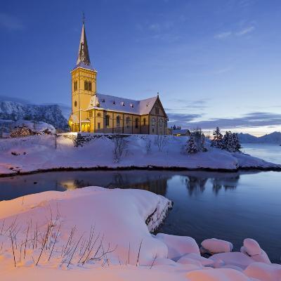 Church in Vagan (Municipality), Ausvagoya (Island), Lofoten, 'Nordland' (County), Norway-Rainer Mirau-Photographic Print