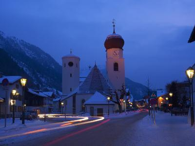 Church in Winter Snow at Dusk, St. Anton Am Arlberg, Austrian Alps, Austria, Europe-Peter Barritt-Photographic Print