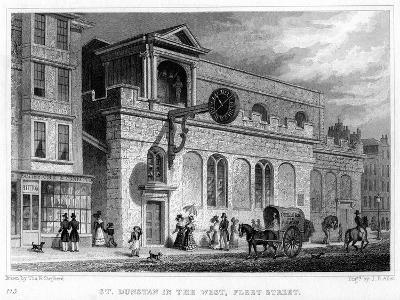Church of St Dunstan in the West, Fleet Street, City of London, 1816-JB Allen-Giclee Print