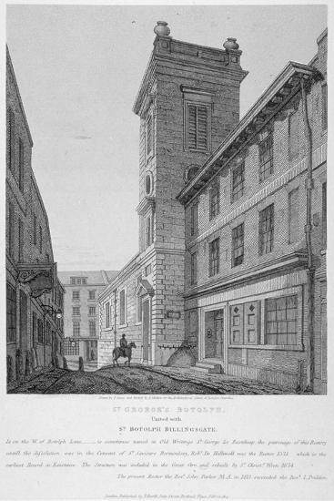 Church of St George Botolph Lane, at the South-East Corner of George Lane, City of London, 1814-Joseph Skelton-Giclee Print