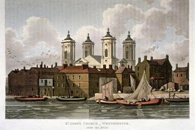 Church of St John the Evangelist from the River Thames, Westminster, London, 1815-Thomas Hosmer Shepherd-Giclee Print