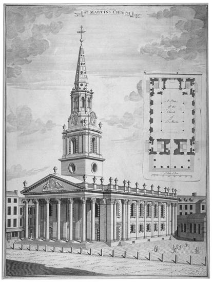 Church of St Martin-In-The-Fields, Westminster, London, C1730--Giclee Print