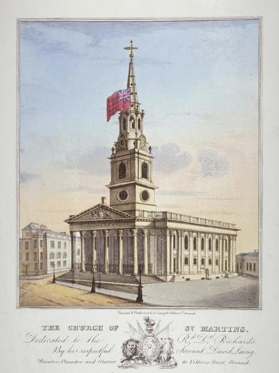 Church of St Martin-In-The-Fields, Westminster, London, C1825-David Laing-Giclee Print