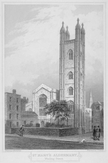 Church of St Mary Aldermary, City of London, 1839-John Le Keux-Giclee Print