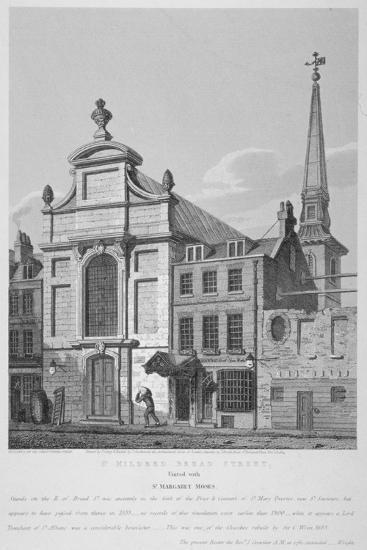 Church of St Mildred, Bread Street, City of London, 1838-Joseph Skelton-Giclee Print
