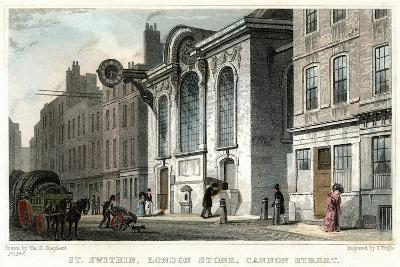 Church of St Swithin and the London Stone, Cannon Street, City of London, C1830-J Tingle-Giclee Print