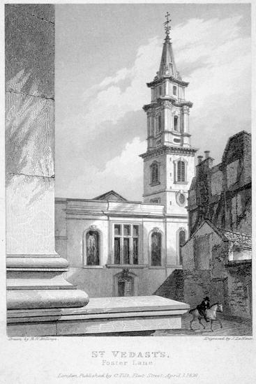 Church of St Vedast Foster Lane, City of London, 1838-John Le Keux-Giclee Print