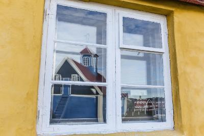 Church Reflected in Brightly Painted House Window in Sisimiut, Greenland, Polar Regions-Michael Nolan-Photographic Print
