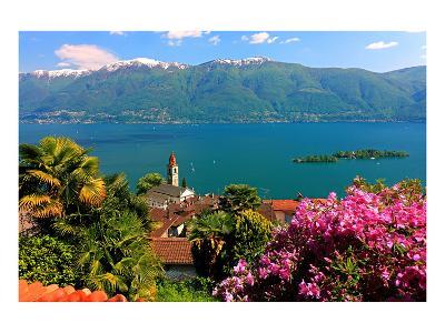 Church San Martino and Lake with Brissago Islands, Ronco Sopra Ascona on Lake Maggiore--Art Print