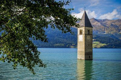 Church Steeple, 'Reschensee' (Lake Reschen), Comune of Graun, South Tyrol-Frina-Photographic Print