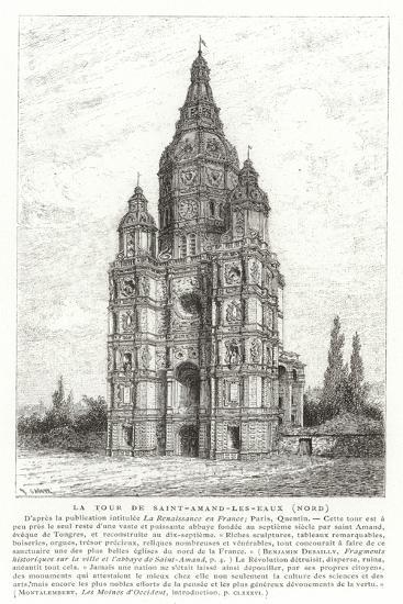 Church Tower of the Abbey of Saint-Amand-Les-Eaux, France--Giclee Print