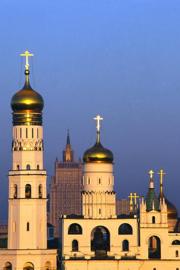 Church towers and crosses of the Kremlin, Moscow-Charles Bowman-Photographic Print
