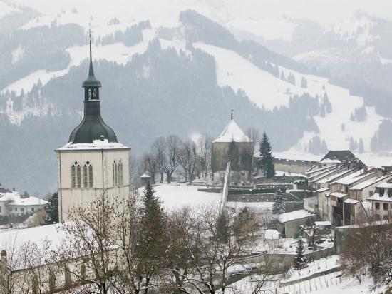 Church View from Gruyeres Castle, Gruyeres, Fribourg, Switzerland-Walter Bibikow-Photographic Print