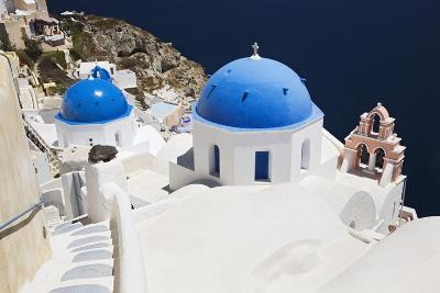 Church with Blue Dome with View of the Aegean Sea, Oia, Santorini, Cyclades, Greek Islands-Markus Lange-Photographic Print