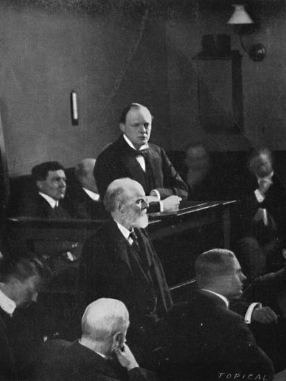 'Churchill giving evidence regarding the Sidney Street incident', 1911, (1945)-Unknown-Photographic Print