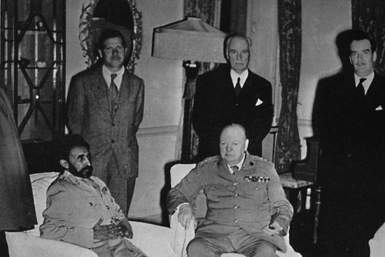 'Churchill in Cairo, with Ethiopian Emperor, Haile Selassie', 1943, (1945)-Unknown-Photographic Print