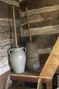 Churns in Norwegian Immigrants' Milk Shed at Kvaale Farm, as 1865, at Old World Wisconsin