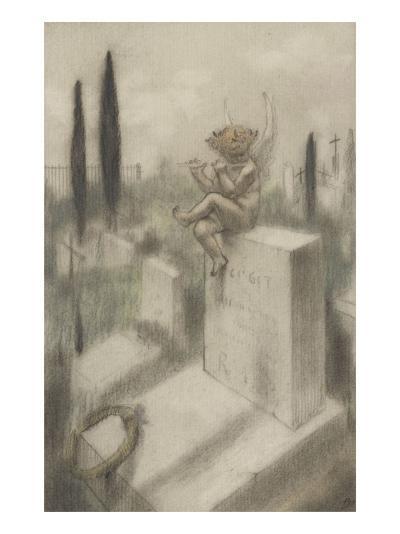 Ci git, projet d'illustration pour Le Jeu de grâces d'après Histoires souveraines de Villiers de-Armand Rassenfosse-Giclee Print