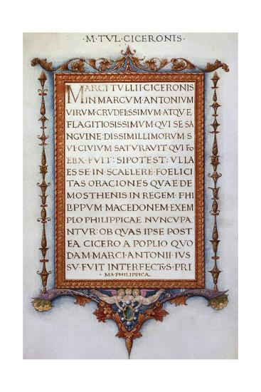 Cicero's Philippics--Giclee Print