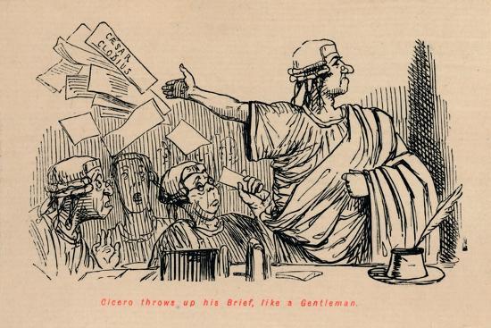 'Cicero throws up his Brief, like a Gentleman', 1852-John Leech-Giclee Print
