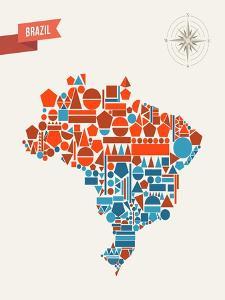 Brazil Geometric Figures Map by cienpies