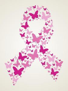 Butterfly in Breast Cancer Awareness Ribbon by cienpies