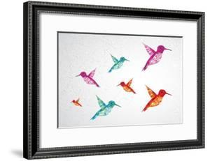 Colorful Humming Birds Illustration by cienpies