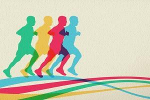 Colorful Runners Silhouette by cienpies