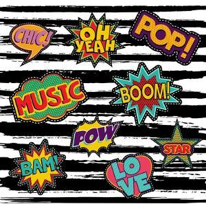 Set of Pop Art Text Stickers or Patch Designs with Retro 80S Comic Book Speech Bubbles by Cienpies Design