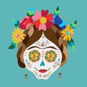 Mexico Day of the Dead Skull and Spring Decoration by cienpies