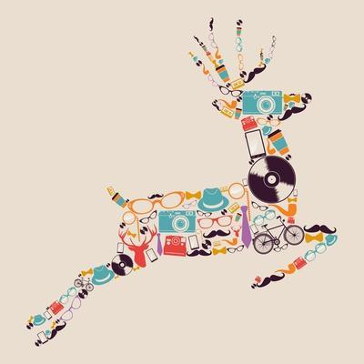 Retro Hipster Icon Reindeer
