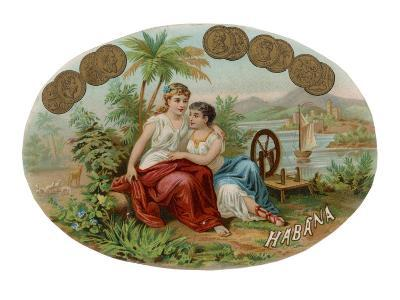 Cigar Label with Idyllic Scene for Havana Cigars--Giclee Print