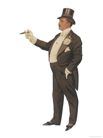Cigar Smoking Gentleman in a Black Tail-Coat and Trousers White Waistcoat Bowtie and Gloves Top Hat--Giclee Print